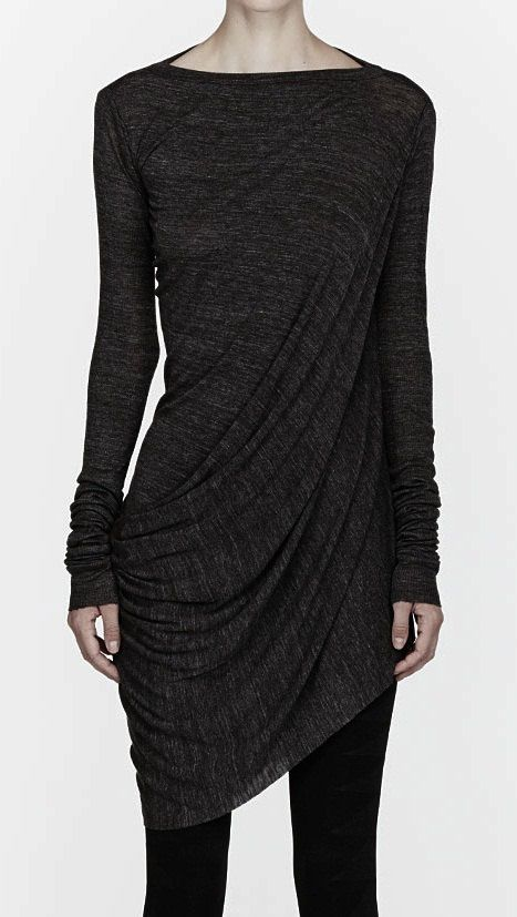 Oversized Grey Draping Long Sleeve Owens Jersey Top Lilies