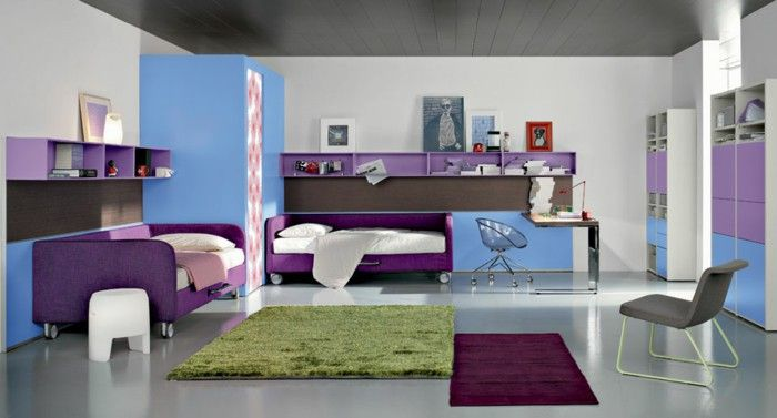 Exceptional Youth Room Set Up Double Purple Beds Colored Carpets Walls