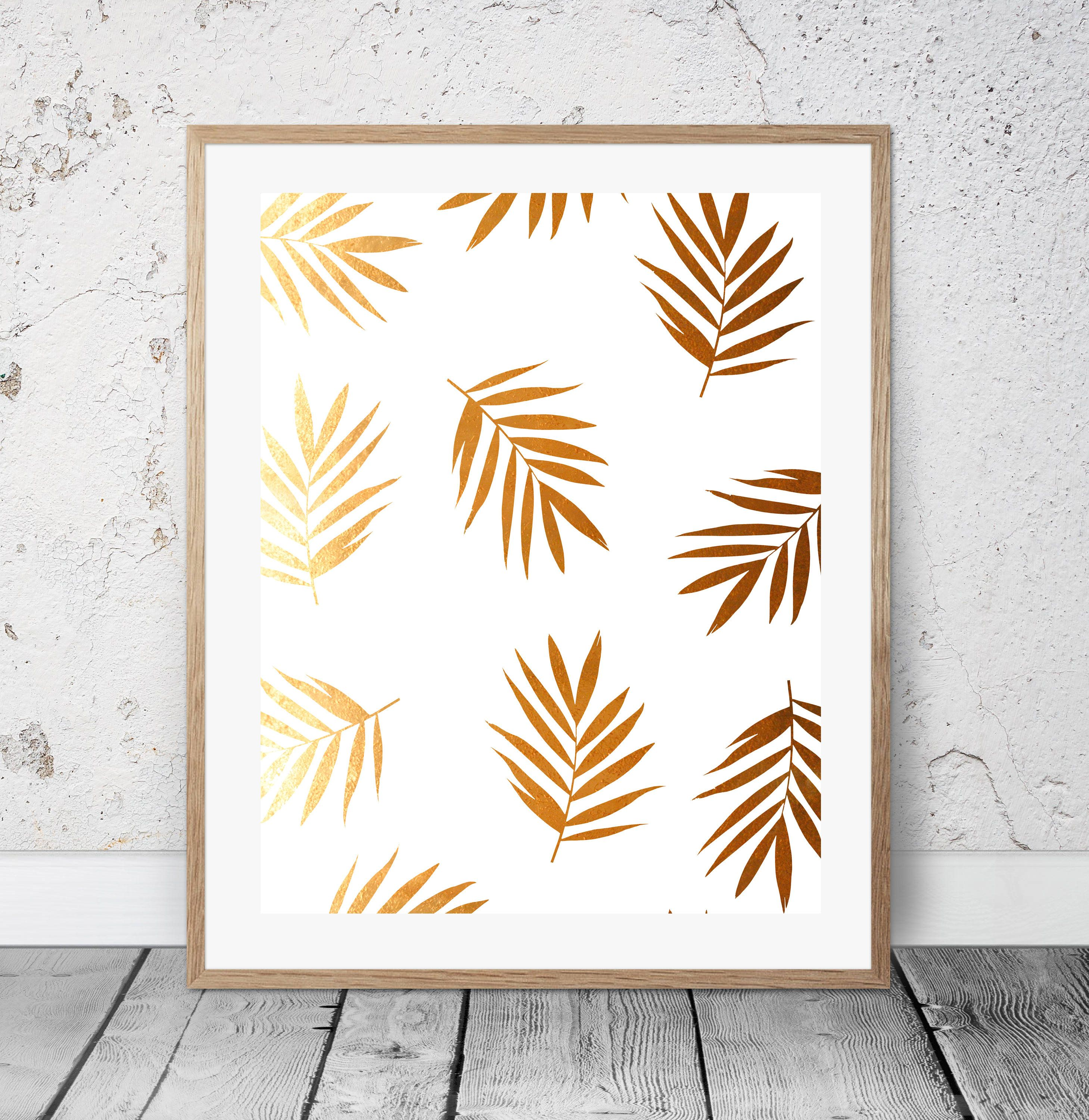 Palm Gold Leaves gorgeous tropical poster Palm wall art decor Palm ...