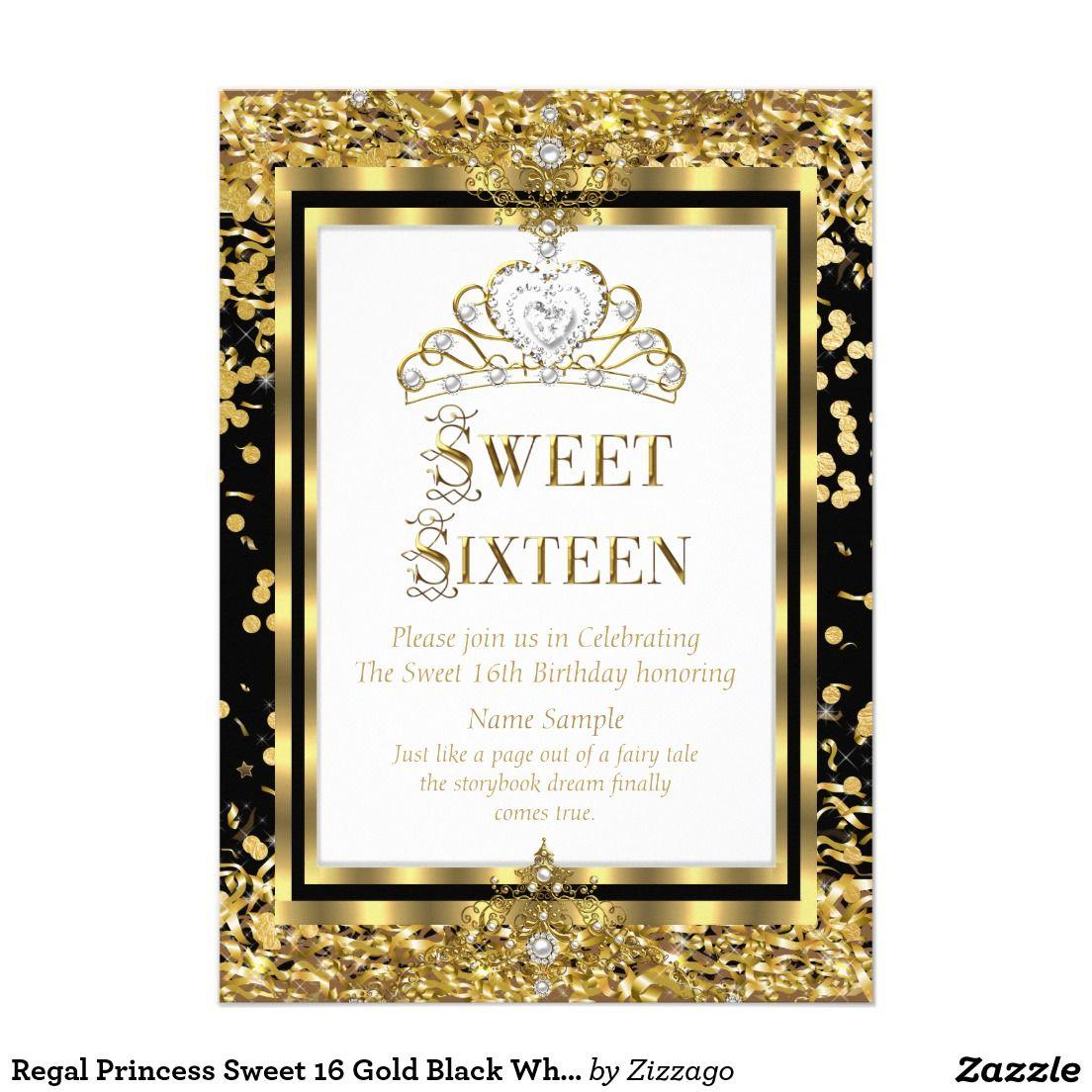 Regal Princess Sweet 16 Gold Black White Party 5x7 Paper Invitation ...