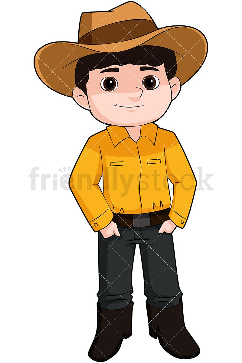 Cute Kid Wearing Cowboy Hat  Royalty-free stock vector illustration of a little  boy dressed in a simple cowboy costume and having both of his hands in his  ... ad11acbd0d2b