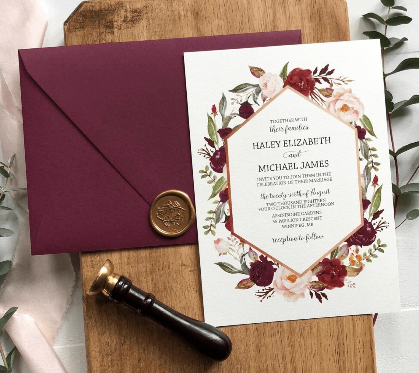 Borgogna Rosa Polveroso Floreali Inviti Di Nozze Inviti Di Nozze Nozze Partecipazioni Per Matrimonio