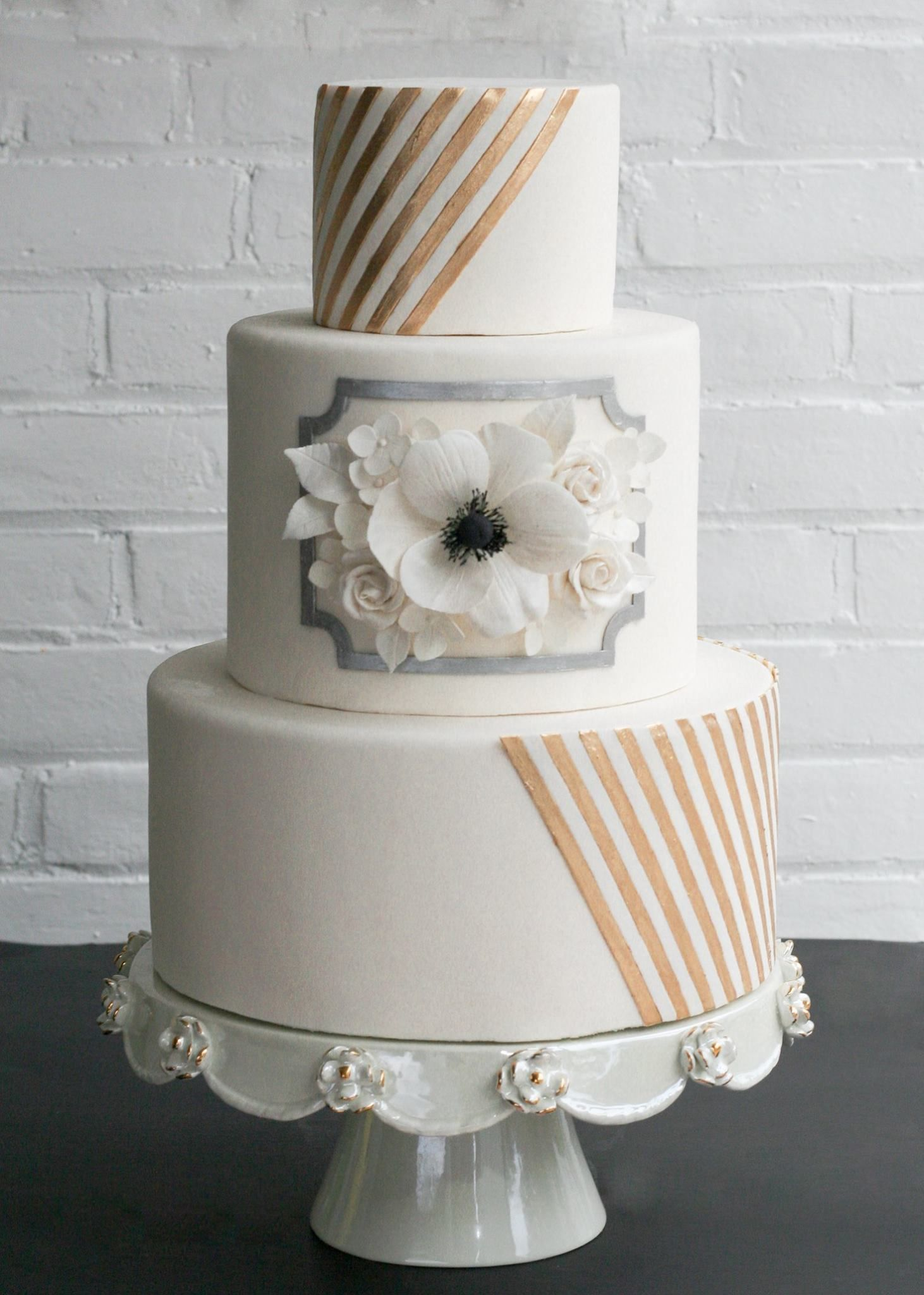 Erica OBrien Cake Design Wedding Cake. Gold, silver, ivory, sugar ...