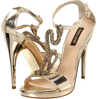 Calf Sandal Pump with Gold Metal Snake Detail. Oh Cavalli How I Love Thee