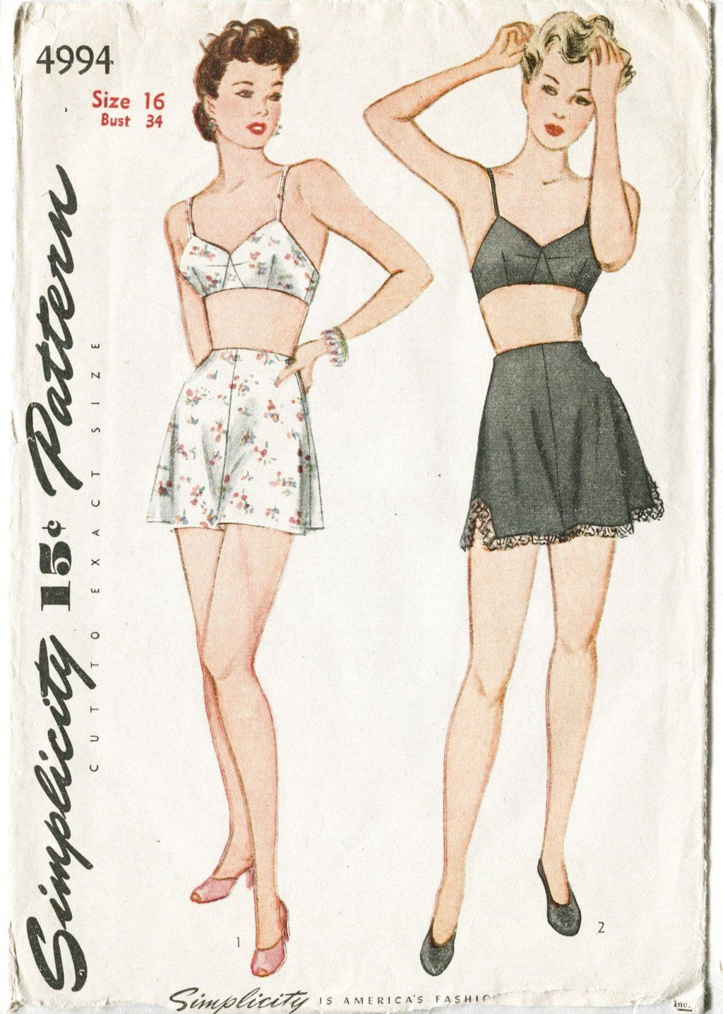 e75f690e4 simplicity 4994 1940s vintage bra shorts lingerie sewing pattern