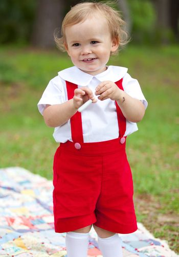 Red STRIPE SHORTS HAND SMOCKED OUTFIT BOYS GIRLS Christmas OUTFIT party