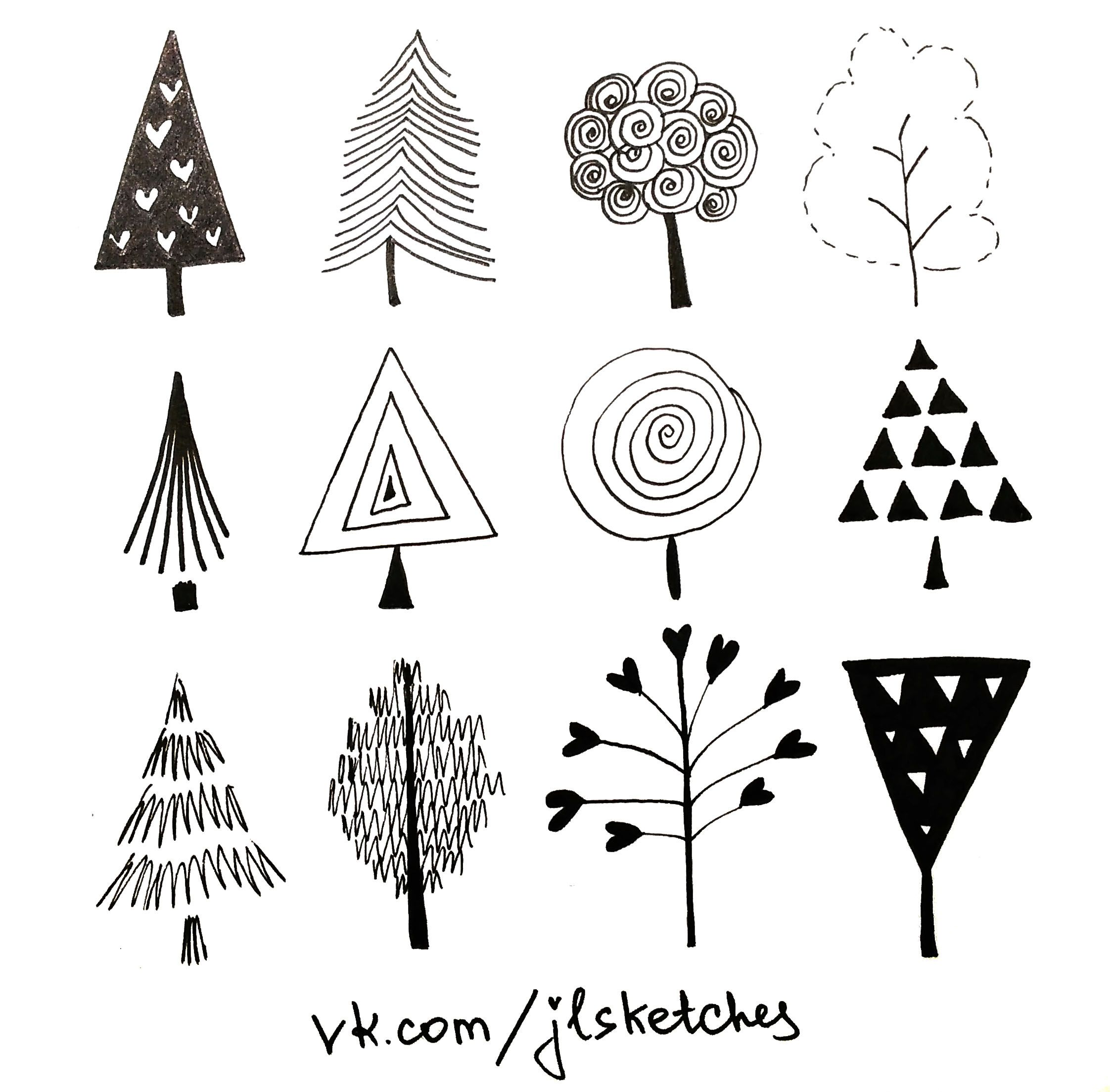 Doodle Trees Tree Doodle Tree Tattoo Small Christmas Art For Kids