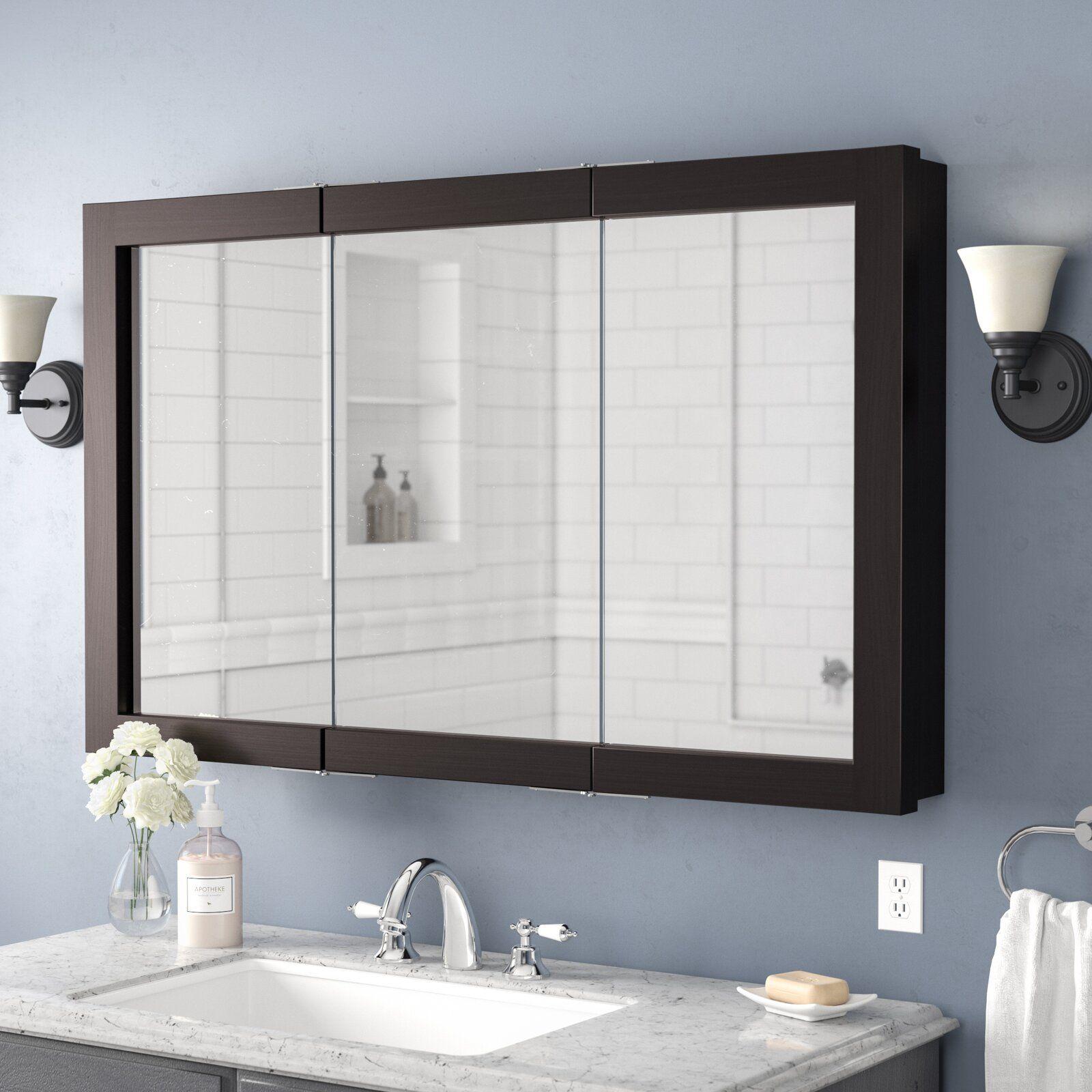 Searle Surface Mount Framed 3 Door Medicine Cabinet With 2 Shelves Bathroom Mirror Cabinet Mirror Cabinets Bathroom Mirror