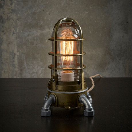 Industrial Table Lamp In Antique Brass, Nautical Metal Cage Bedside Touch  Lamp, Steampunk Vintage