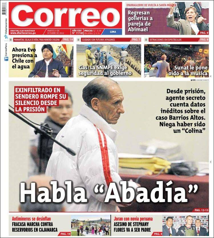 """TAPA de """"Correo"""" sobre """"Abadía"""""""