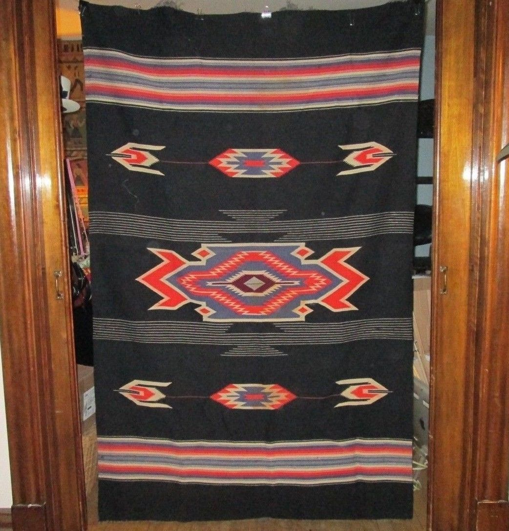 Vintage New Mexico Chimayo Woven Blanket Native Indian