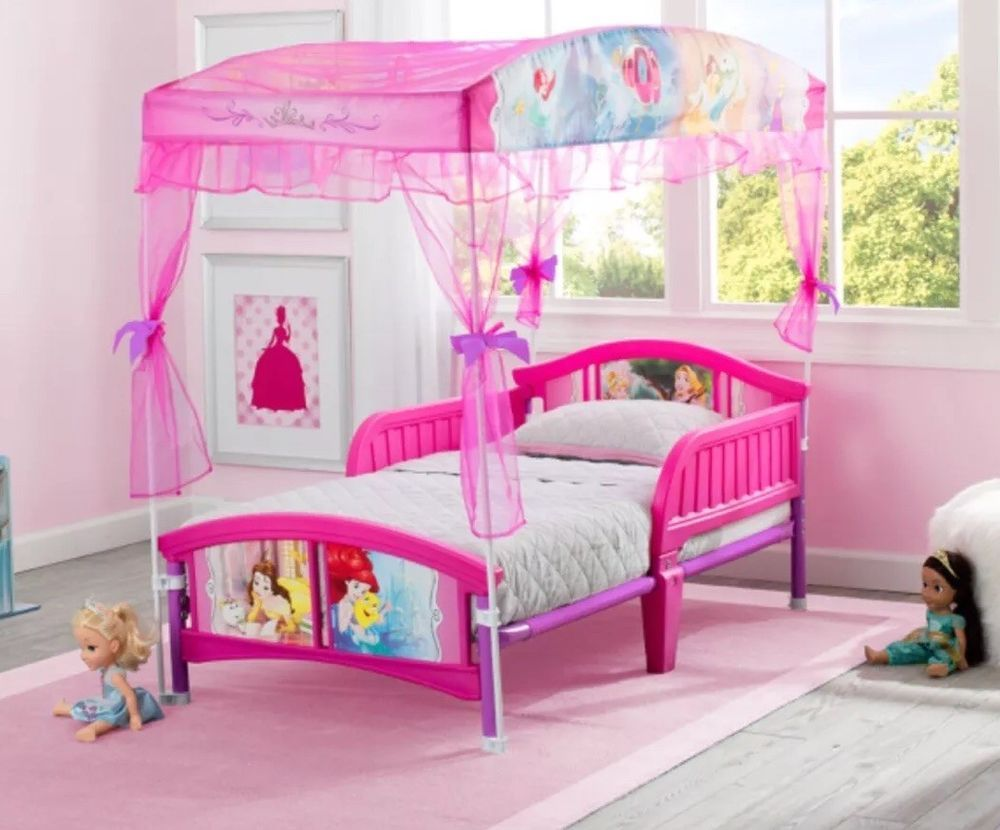 - Disney Princess Plastic Pink Toddler Bed With Canopy By Delta