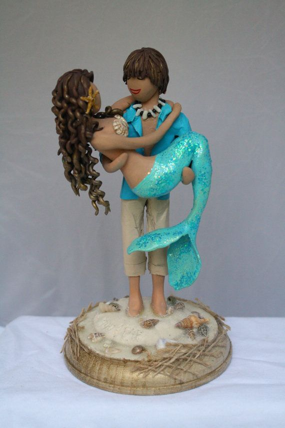 Mermaid and Beach Boy Wedding Cake Topper customized to your