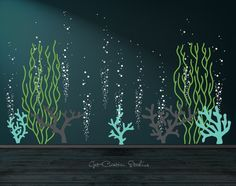 Underwater Ocean Decal Bubble Wall Decal Aquarium Wall Decal Deep Sea Decal Coral Reef Wall Decal Seaweed Decal Bubbles Decal Ocean Decal  OVER 10 FEET WIDE!  Great addition to your aquarium or deep sea themed wall. Ask us about custom names and fish!  Pick your own color scheme from our color chart!  Overall dimensions of design = 74H x 128W as positioned in photo.  5 - Corals each approx. 22H 2 - Tall Seaweed Plants 22W x 56H 10 - Bubble Columns (2 sets of 5) • each column is 22H x 5-10…