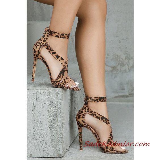 2019 Stiletto Ayakkabı Modelleri Kahverengi Bantlı Arkadan Fermuarlı Leopar Desenli