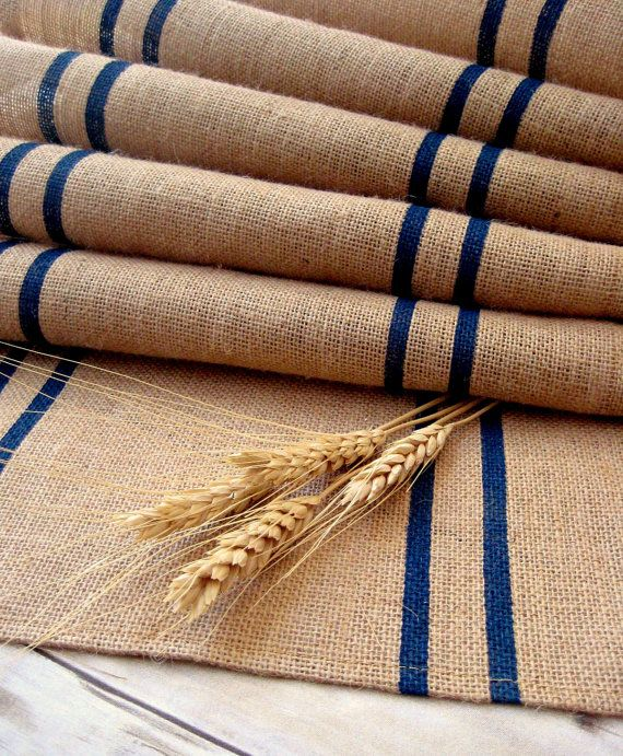 Burlap Table Runner with Navy Stripes/ by HomesteadBurlaps on Etsy, $72.00