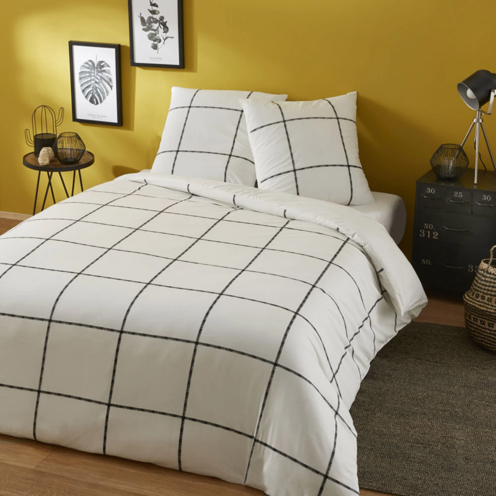 Cotton Bed Linen With Black And White Check Print 240x260 Barber Shop Maisons Du Monde In 2020 Cotton Bed Linen Bedroom Inspiration Ikea Minimalist Bed