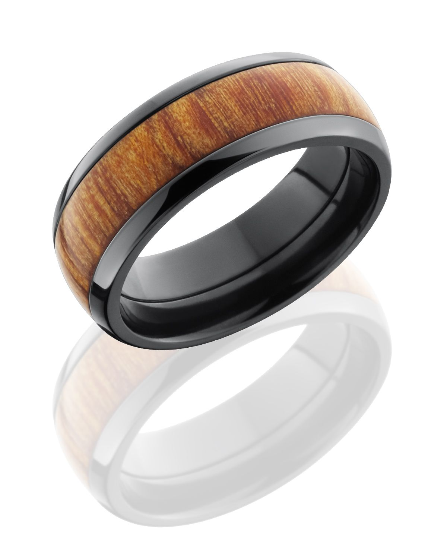 Wood RING Rings Wooden Rings Fiji Orange Wood Inlay