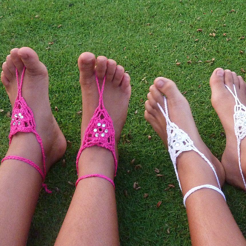 Crochet Pattern Barefoot Sandals Childs Girl Summer Accessory Pdf
