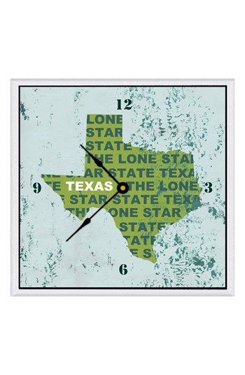 Green Leaf Art 'State Texture' Clock | Nordstrom