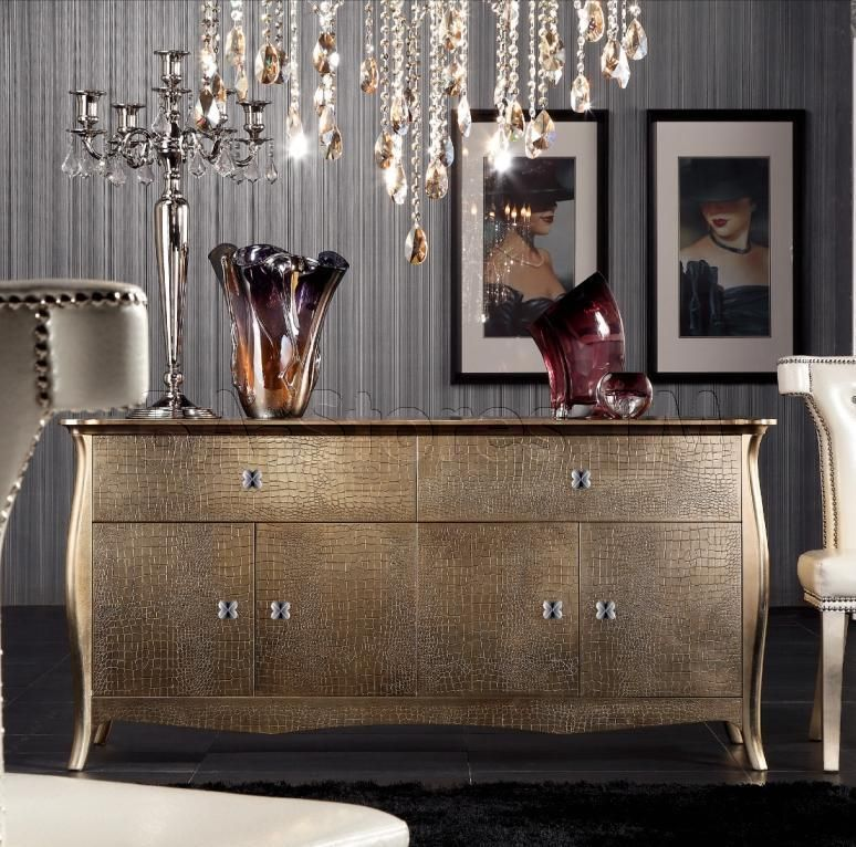 Room Transitional Golden Crocodile Lacquer Buffet