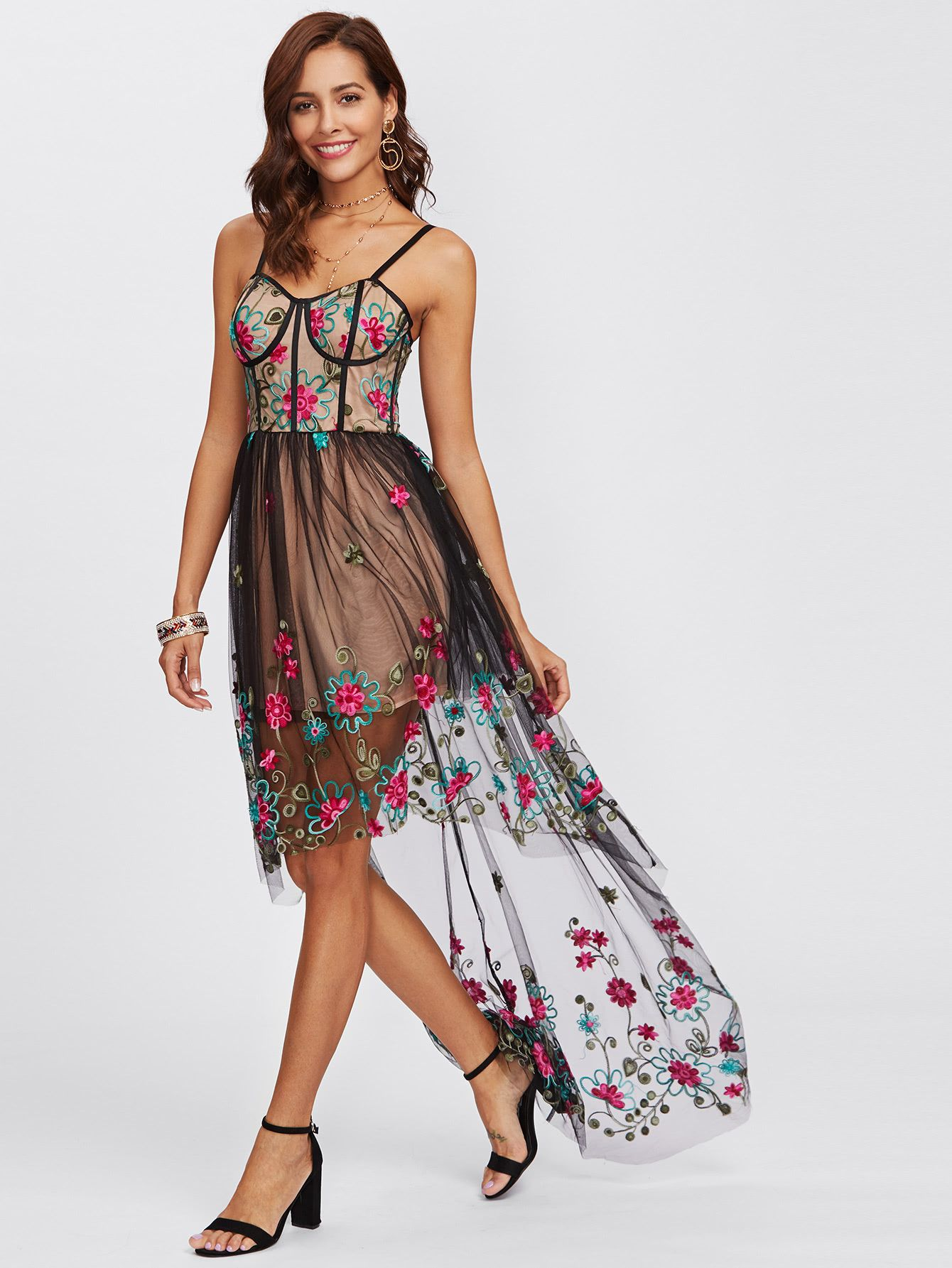 fb12651e0e Shop Embroidered Mesh Overlay Dip Hem Cami Dress online. SheIn offers  Embroidered Mesh Overlay Dip Hem Cami Dress & more to fit your fashionable  needs.