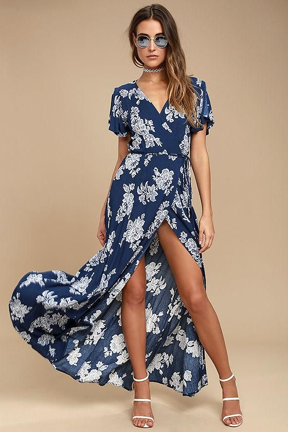 0d792fc1708  mothersday  AdoreWe  Lulus -  Lulus Heart of Marigold Navy Blue Floral  Print Wrap Maxi Dress - Lulus - AdoreWe.com