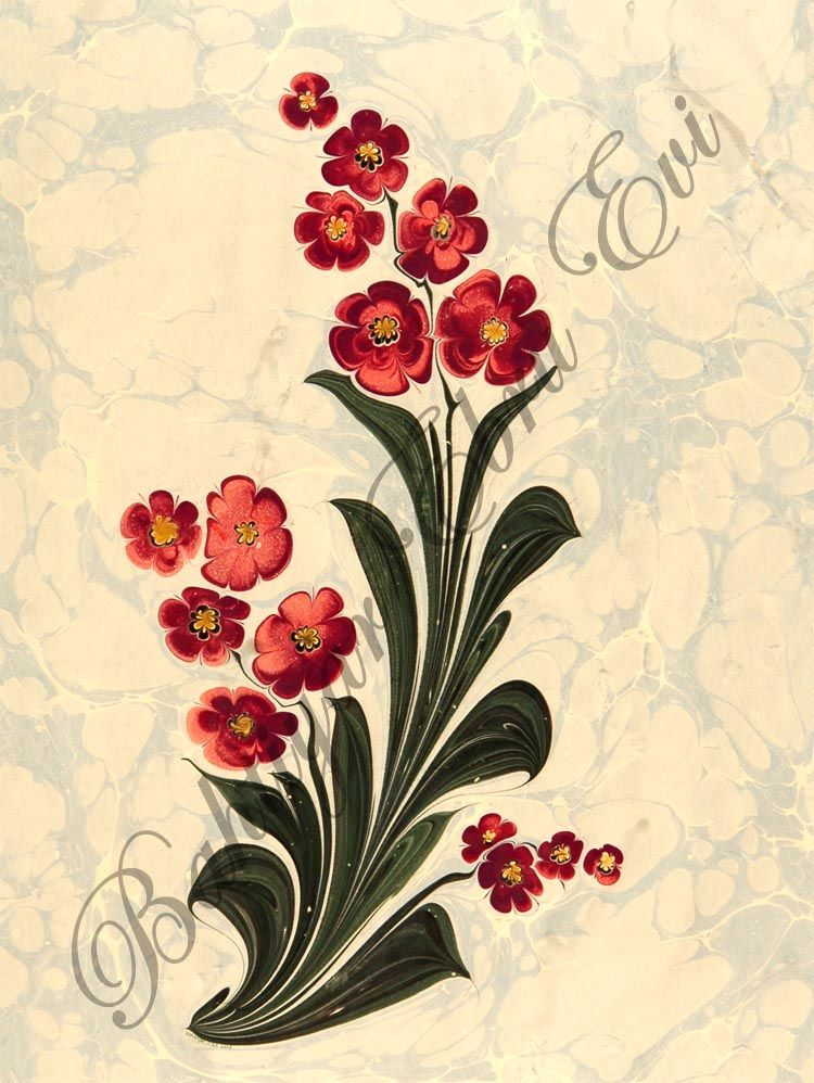 Flower ebru. Ebru is a traditional Islamic and Turkish painting on water & transferring this painting onto paper. This style is also called marbling.