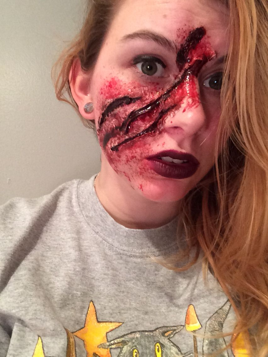 halloween make up i did on myself. freddy krueger victim