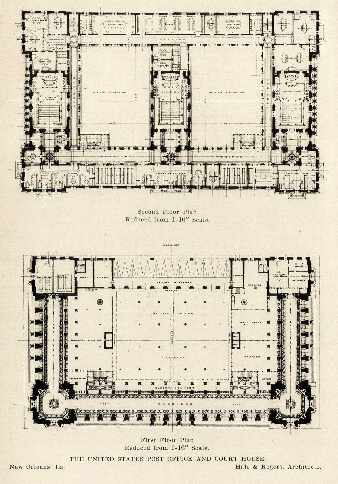 Floor plans for the u s post office and court house new for New construction house plans