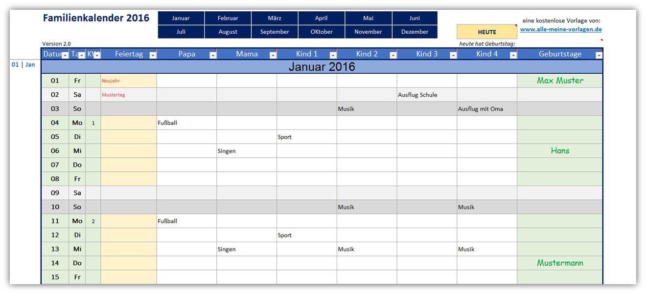 Familienkalender | Kalender, Kalendervorlagen, Jahreskalender ...
