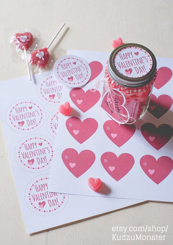 INSTANT DOWNLOAD Printable Cute Valentine Mason Jar Lid Label and ...