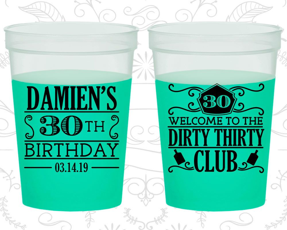 30th Birthday Mood Cups Welcome to the Dirty Thirty Club Birthday