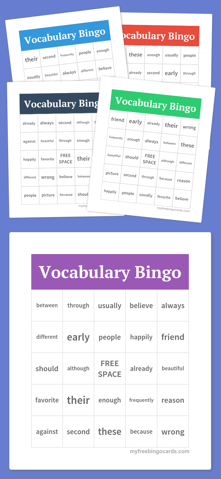 """Click on the """"print"""" button to get a set of vocabulary bingo cards I created. You can also make your own free bingo cards at myfreebingocards.com"""