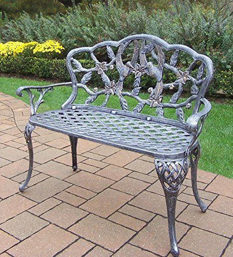 Oakland Living Hummingbird Cast Aluminum Loveseat Bench Antique Pewter For  Sale Https://reclinersforsmallspaces