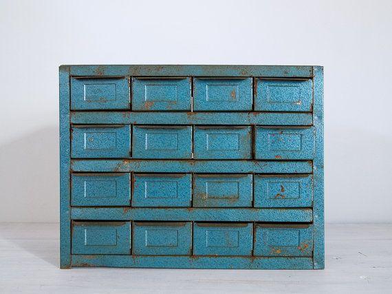 Vintage Metallic Blue Metal Storage Cabinet With 16 Drawers