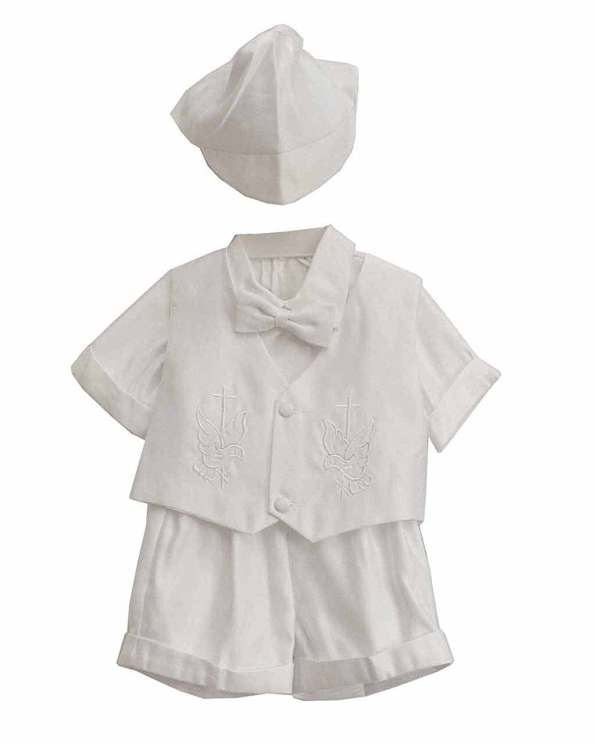 57140d084 Amazon.com: White Christian Baby Boy Bird Pattern Tuxedo Suit Set with Hat:  Infant And Toddler Christening Apparel: Clothing