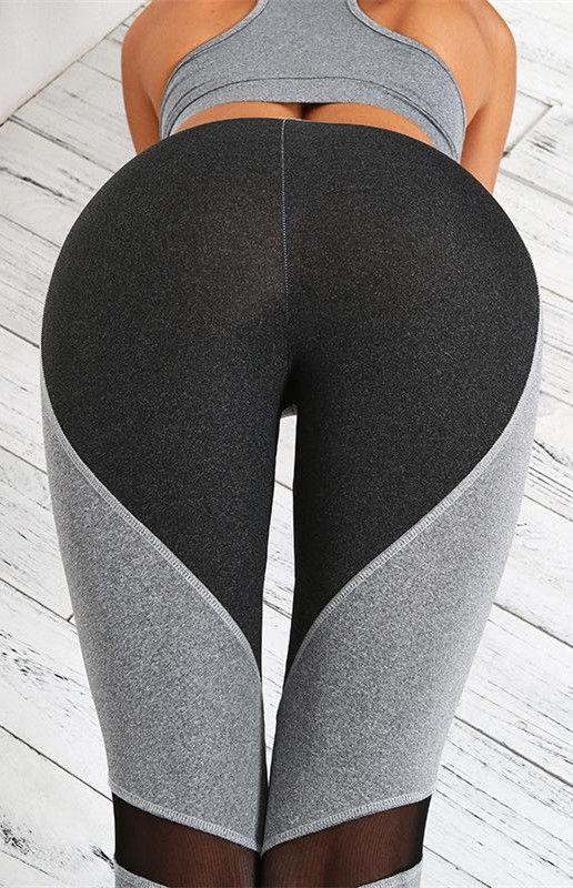 8b642a82a21539 Black Grey Heart-Shaped Butt Patch Yoga Gym Pants | Sport Girls