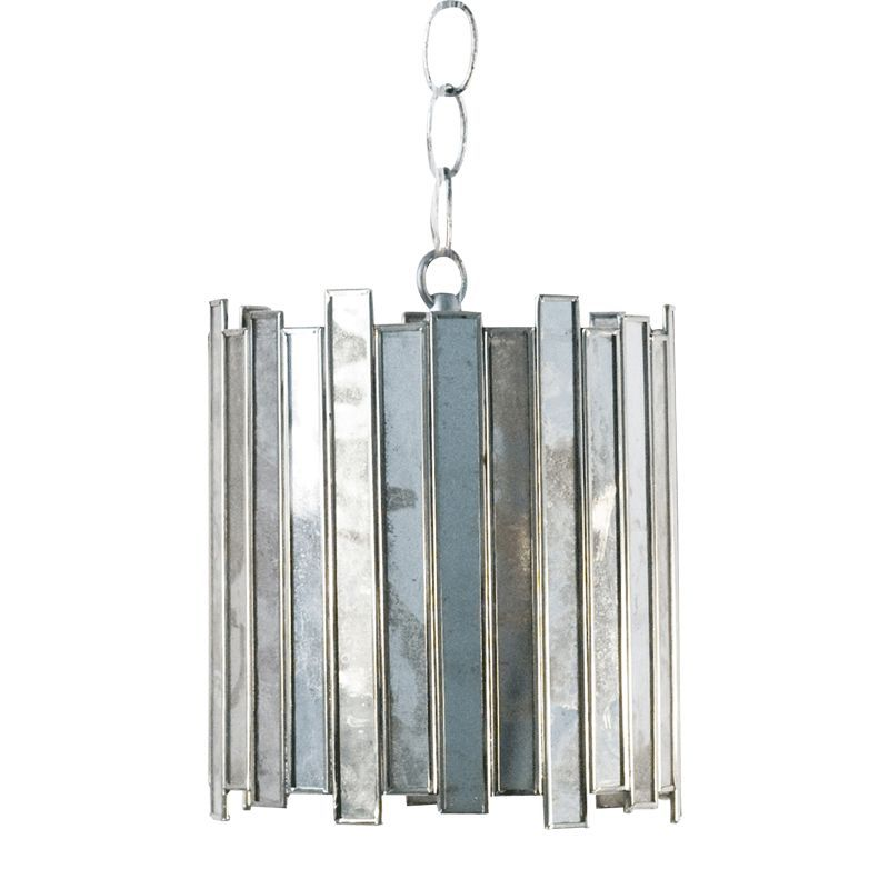 Information: Worlds Away Faceted Antique Mirror Chandelier Mini Pendant  Features: The Worlds Away antique - Worlds Away Faceted Antique Mirror Chandelier Mini Pendant Mini