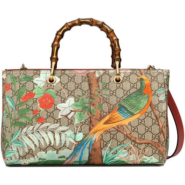 Gucci Tian Floral Gg Supreme Shopper Tote Bag 15 385 Hkd