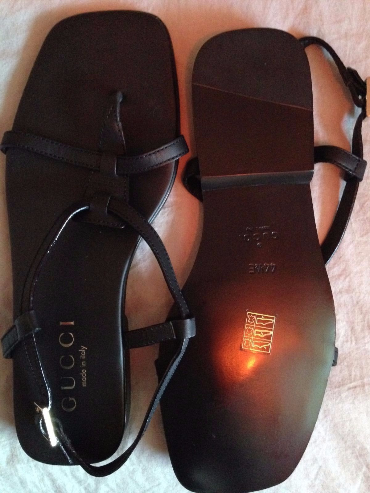 3fd1321e4 GUCCI MEN'S BACK LEATHER SANDALS EU 44 UK 10 | eBay | Mansandals ...