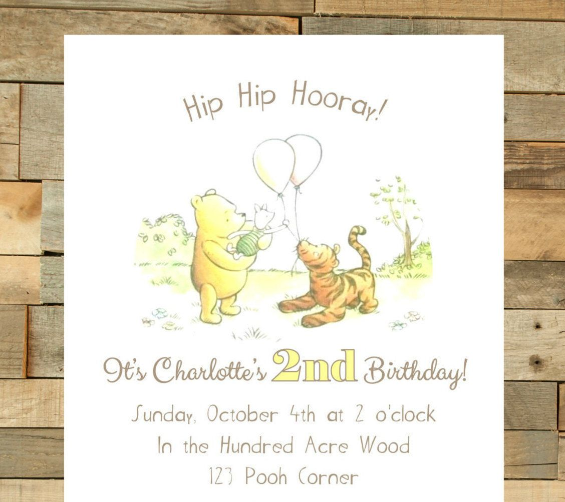Classic Winnie The Pooh Birthday Invitation Print Your Own Digital File By Eventsbyizzy On Winnie The Pooh Birthday 2nd Birthday Invitations Bunny Birthday