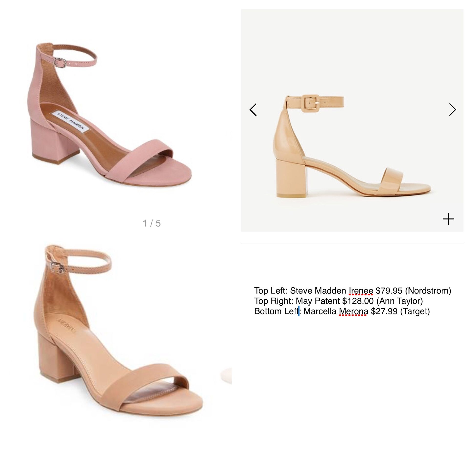 cc4e5094e30 I m obsessed with these low block heel sandals. Three price points. Both  Steve Madden and Target have other colors available.