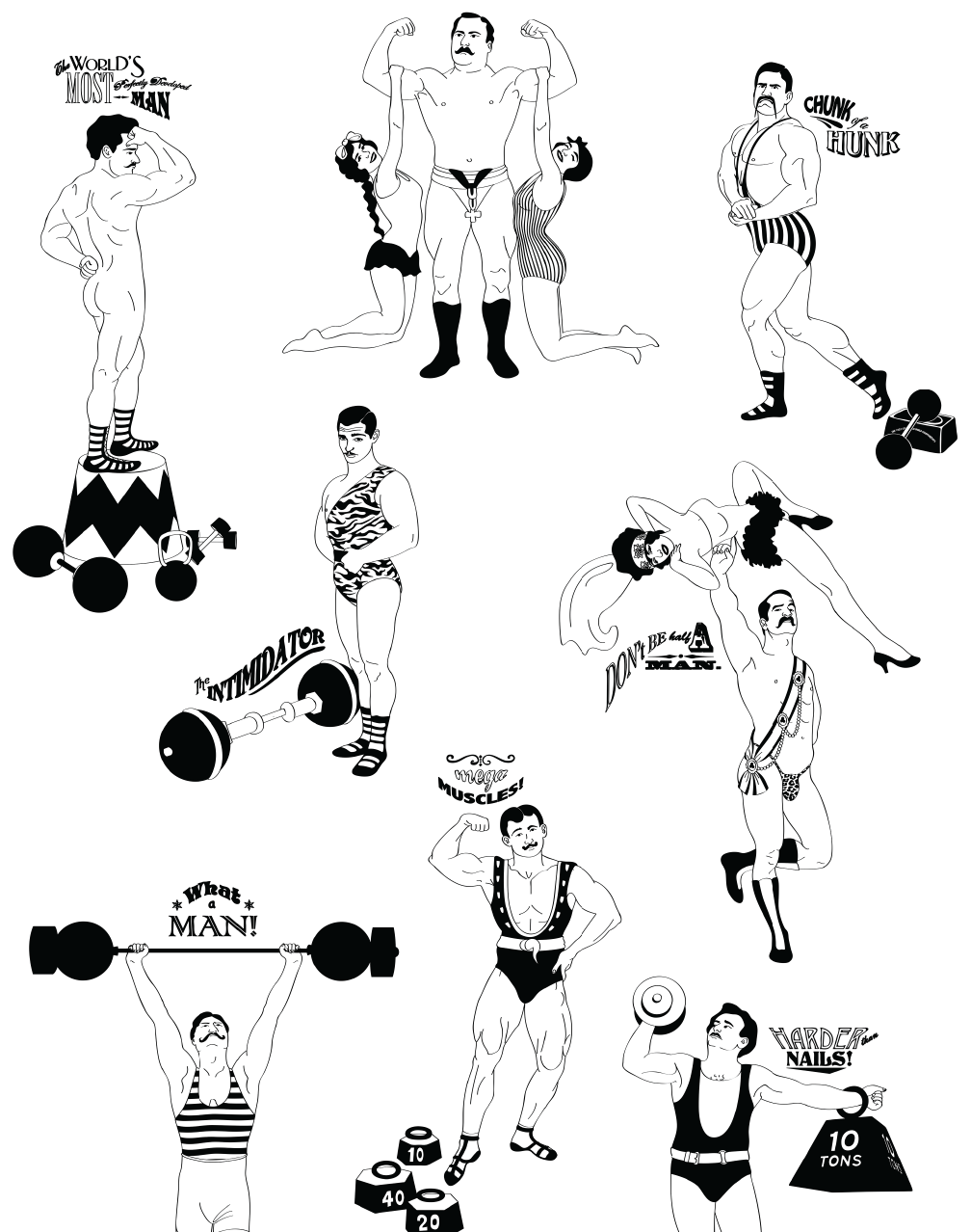 Strong Man Black And White Graphic Wallpaper Black And White Wallpaper Illustration