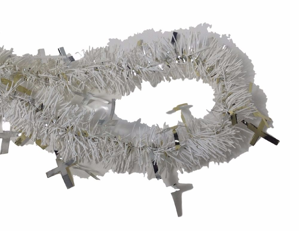 White TINSEL GARLAND with silver and gold crosses 15 ft long