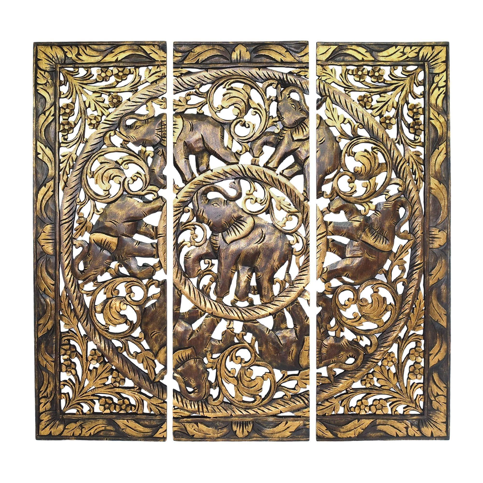 Aeravida golden royal elephant family hand carved wood threepanel