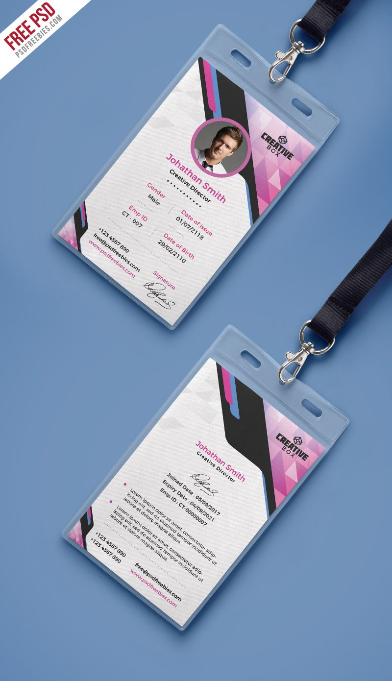 Company Photo Identity Card PSD Template | Simple shapes, Psd ...