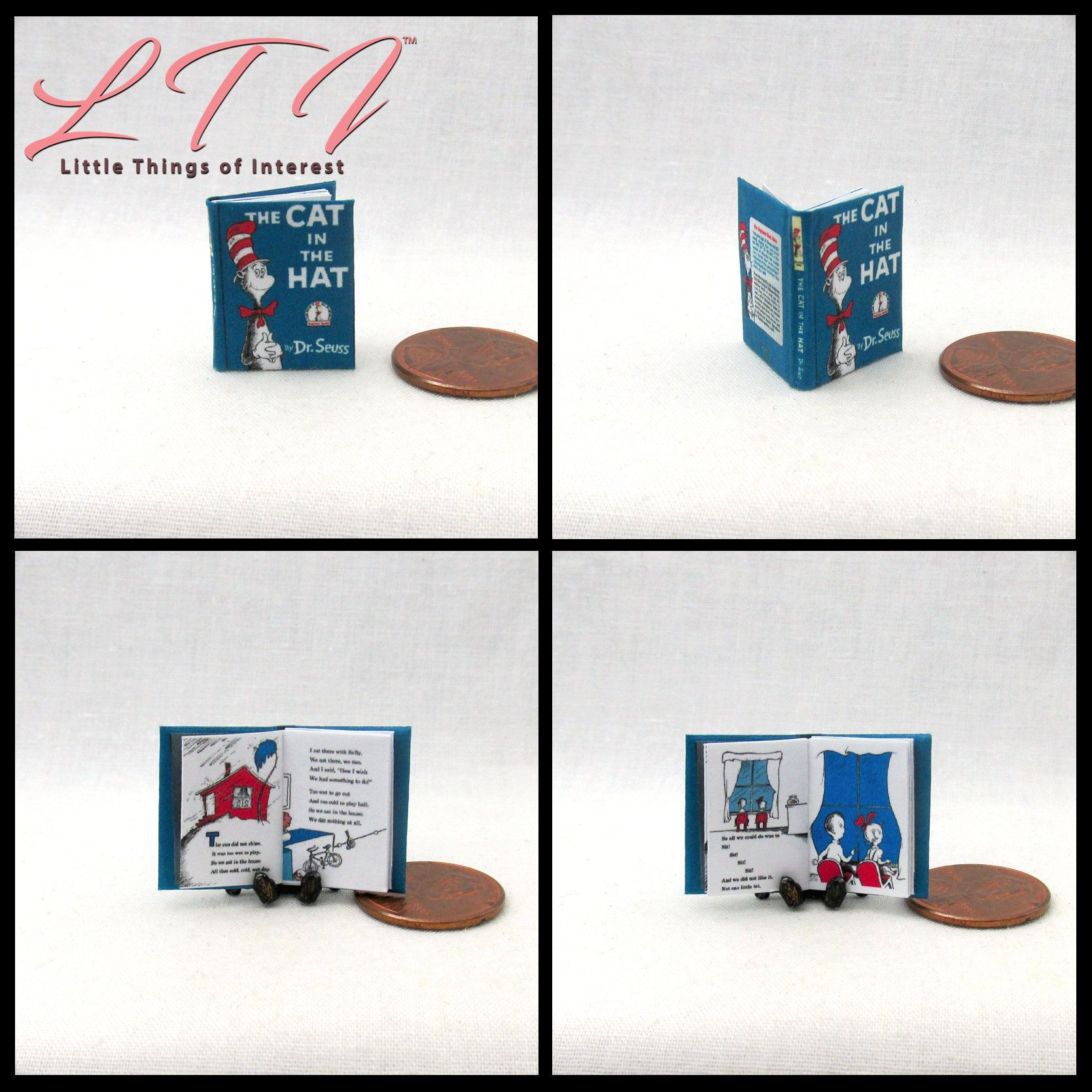 Dr Seuss Cat in the Hat 2   1:12 Scale dollhouse miniature books