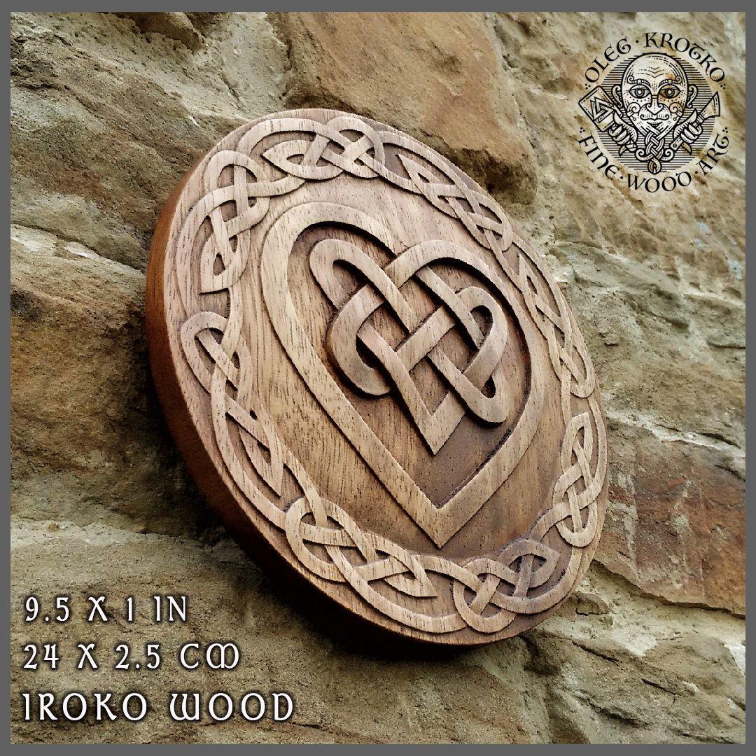 Celtic Heart Knotwork Viking Home Decor Art Norse Thor Odin Wood Picture Pagan S Carving Heathen Asatru Rune Wall Hanging Walknut