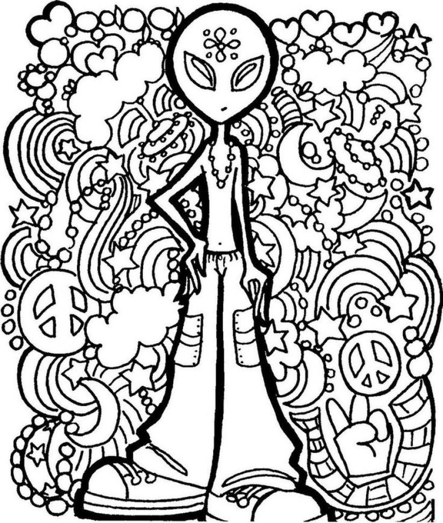 Alien Trippy Printable Coloring Page Free